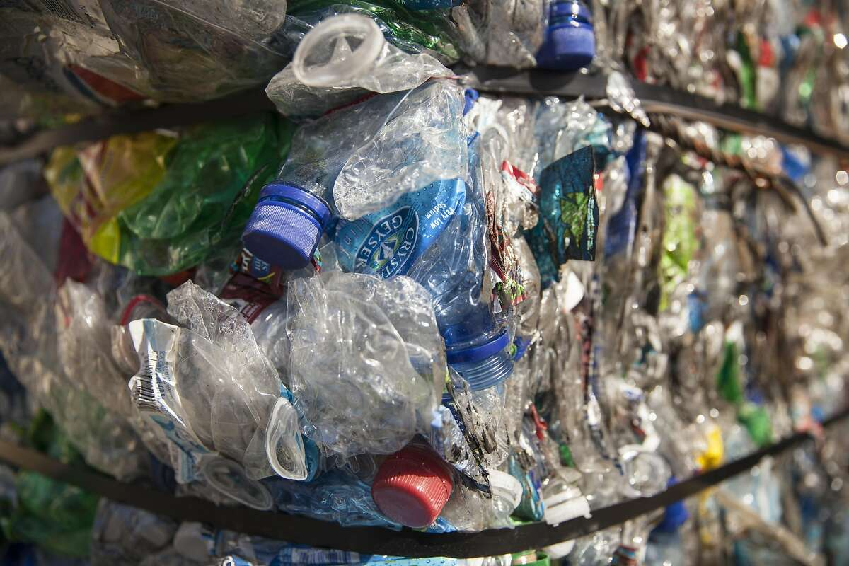 Recycled plastic bottles at the Marin Sanitary Services - Recycling Center in San Rafael, California, USA 23 Feb 2016. (Peter DaSilva/Special to The Chronicle)