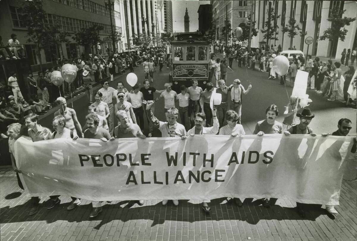 The People With AIDS Alliance marches in the Gay Freedom Day Parade on June 26, 1983.