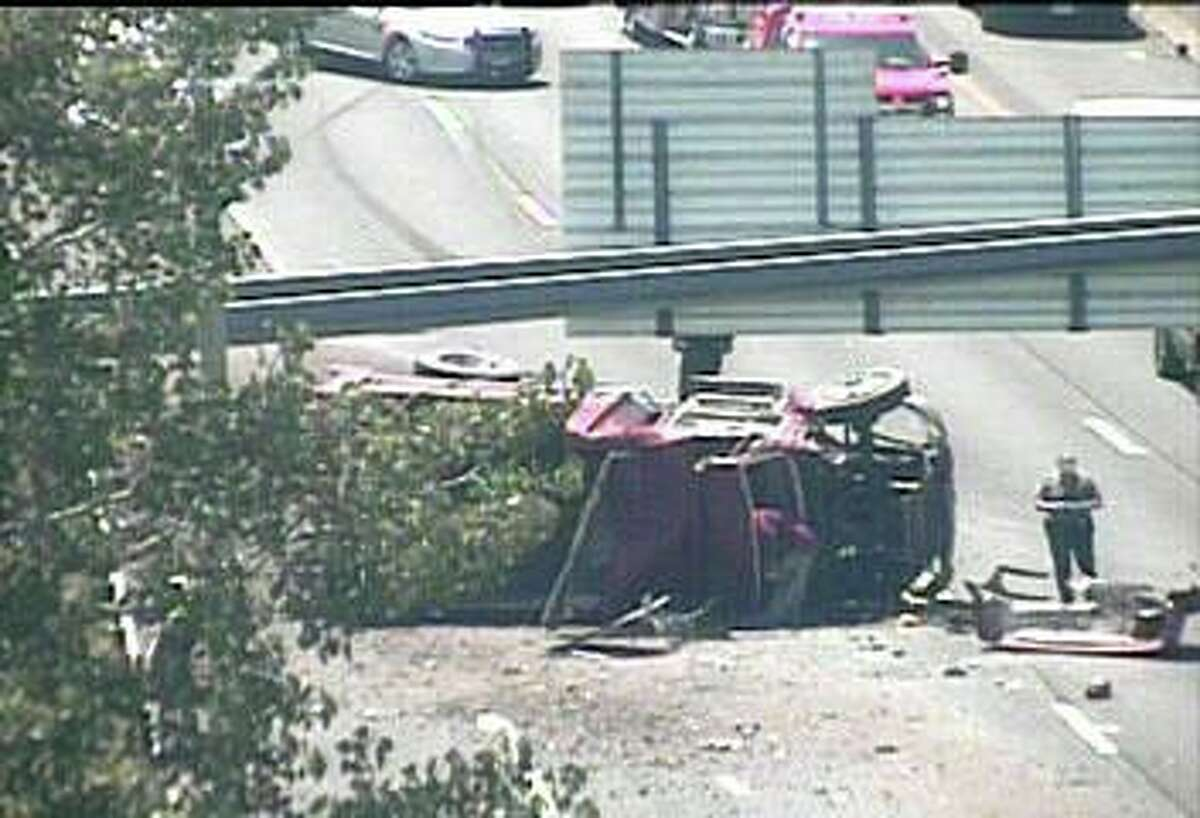 A rollover crash has closed two lanes of northbound I-95 in Milford Monday afternoon on June 22, 2020. The crash, reported at 1:37 p.m., has closed the right and center lanes between Exits 39B and 40.