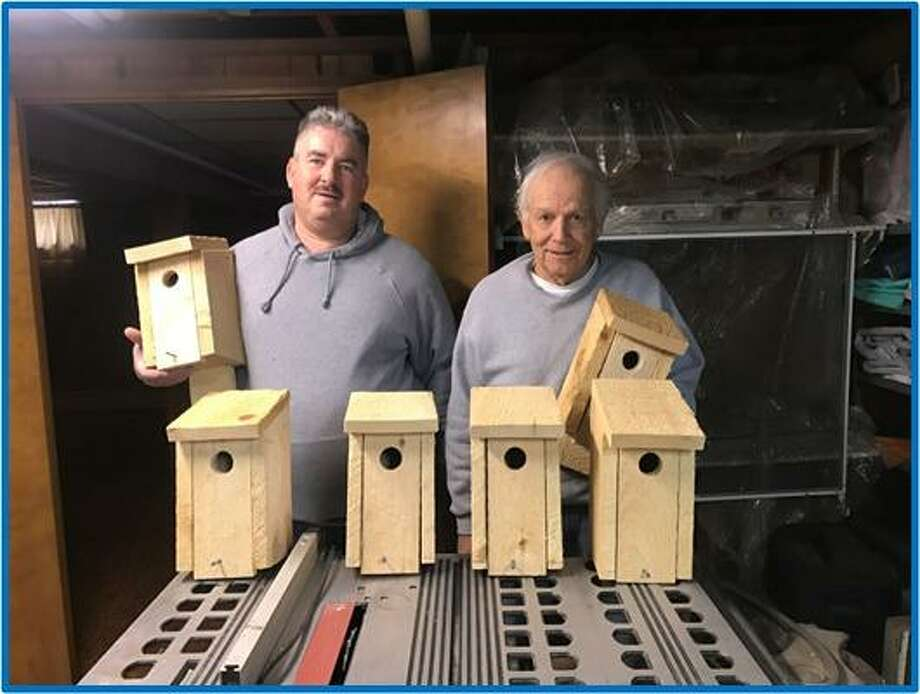 Volunteers Tom Barrell and Tow Romick made these bluebird boxes that were placed in Eisenhower Park. Photo: Contributed Photo