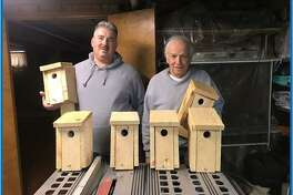 Volunteers Tom Barrell and Tow Romick made these bluebird boxes that were placed in Eisenhower Park.