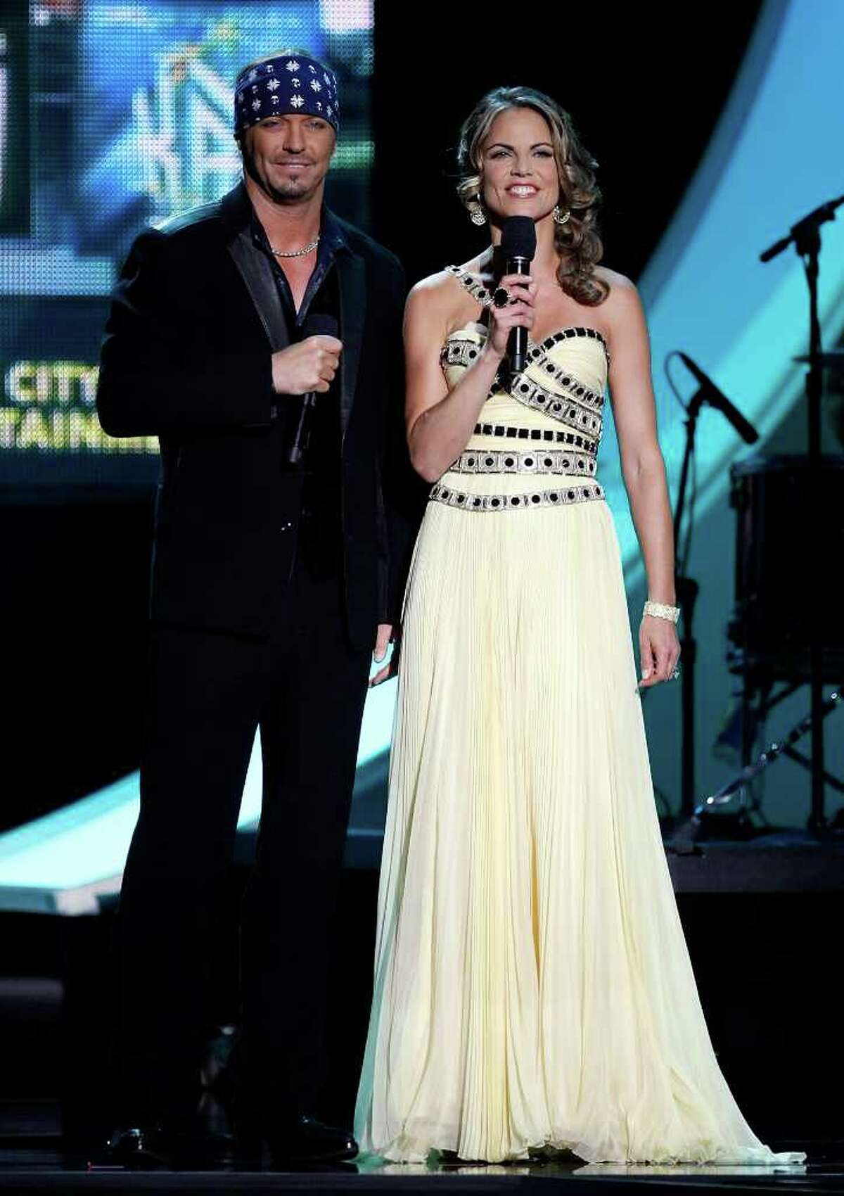 LAS VEGAS - AUGUST 23: Poison singer Bret Michaels (L) and NBC News anchor Natalie Morales host the 2010 Miss Universe Pageant at the Mandalay Bay Events Center August 23, 2010 in Las Vegas, Nevada. (Photo by Ethan Miller/Getty Images)