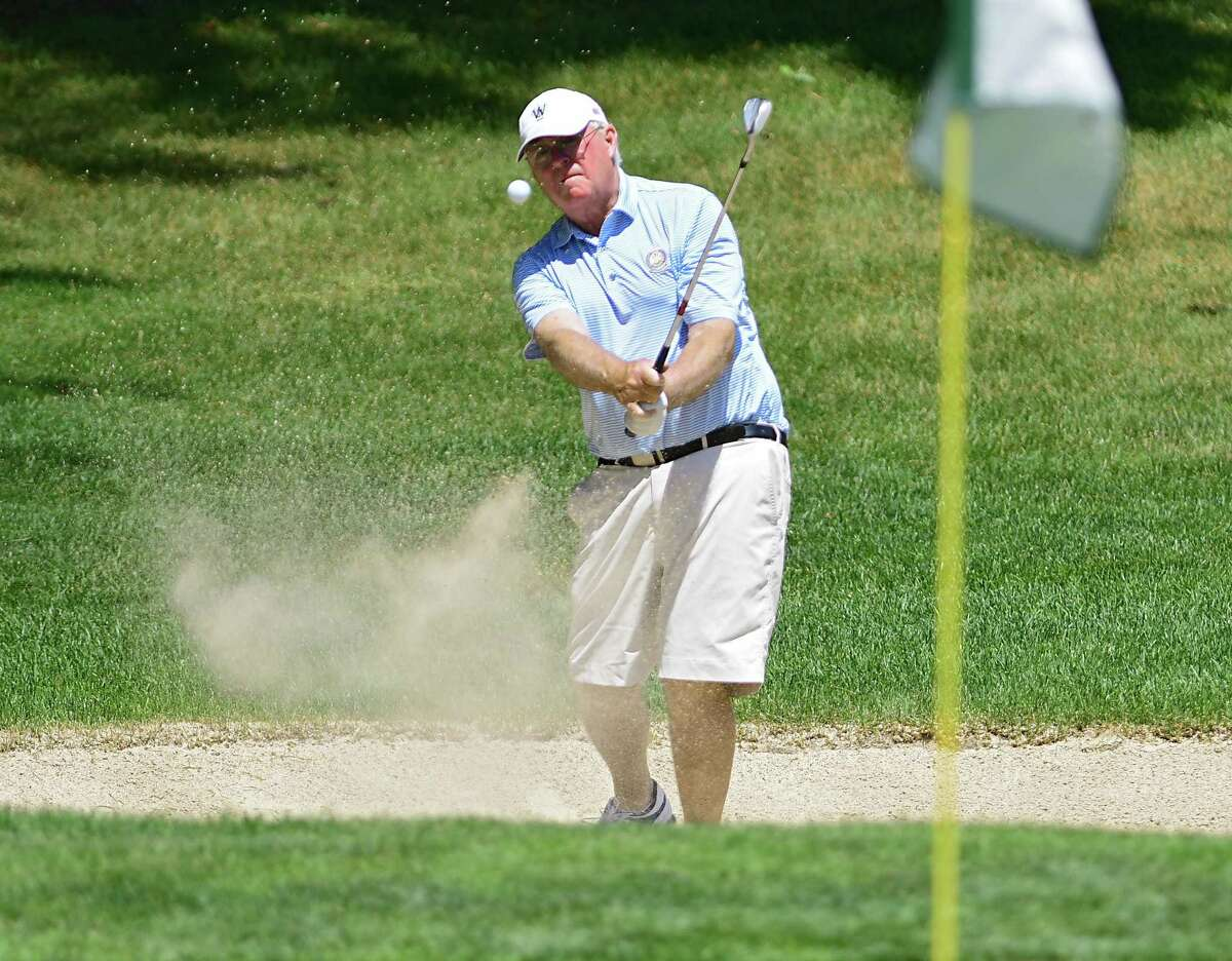 Tom Sullivan of Wyantenuck Country Club hits his ball out of a sand trap on the 18th hole during the Northeastern New York PGA Pro Classic 3 at Pinehaven Country Club on Monday, June 22, 2020 in Guilderland, N.Y. (Lori Van Buren/Times Union)