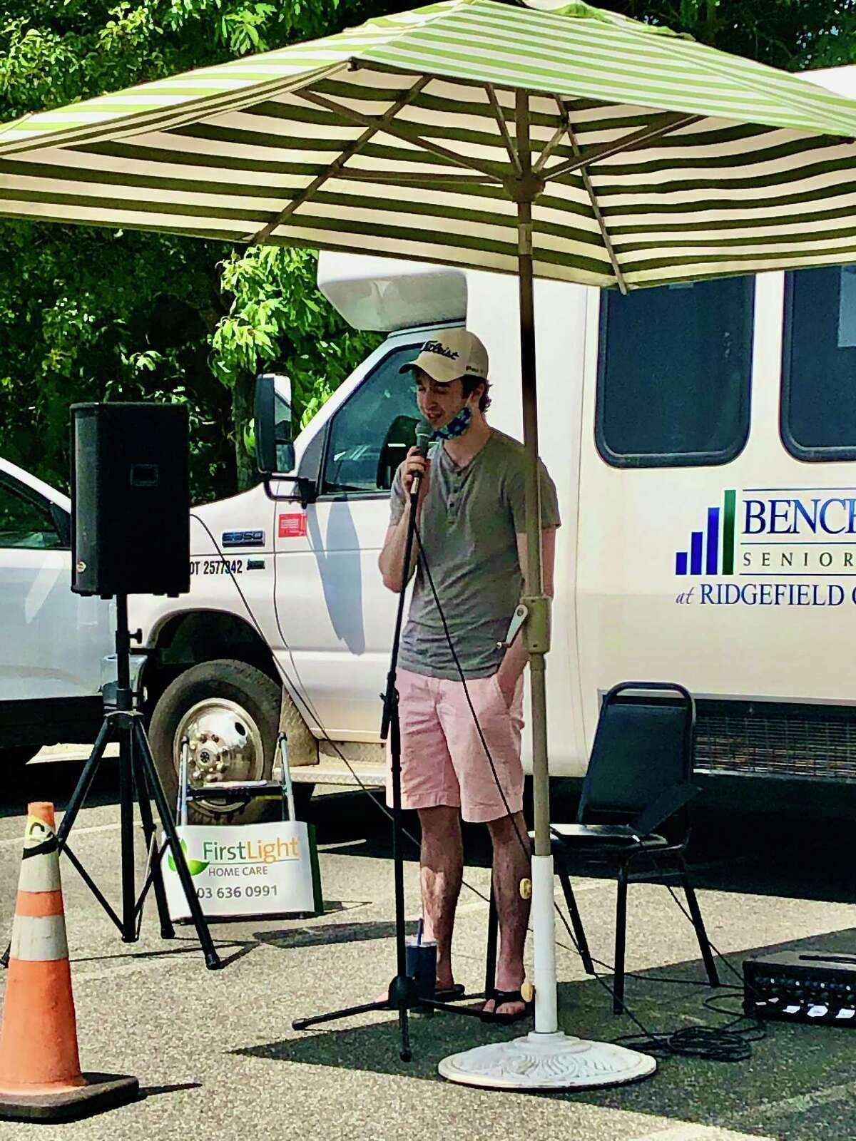 Micheal Shofi performs at Benchmark Senior Living at Ridgefield Crossings during the Windows Serenade event for Make Music Ridgefield on June 21.