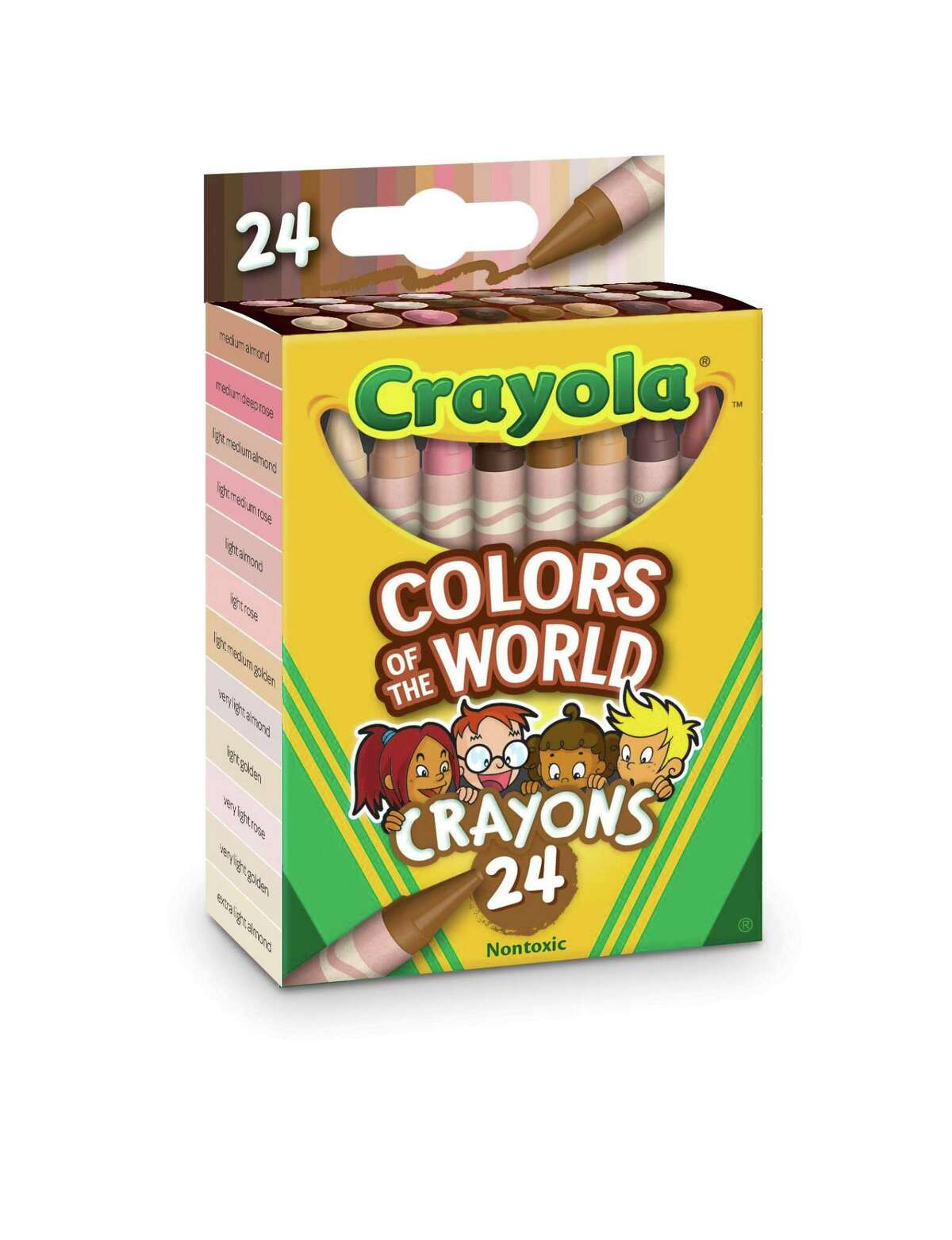 Crayola's Colors of the World collection will be released in July. Each pack contains a variety of skin tone and eye color shades which can be blended to produce dozens of tones.