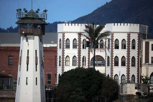 SAN QUENTIN, CALIFORNIA - JUNE 21: An exterior view of San Quentin State Prison on June 21, 2020 in San Quentin, California. San Quentin State Prison is experiencing an outbreak of coronavirus COVID-19 cases with 195 confirmed cases amongst the staff and inmate population. San Quentin had zero cases of COVID-19 prior to a May 30th transfer of 121 inmates from a Southern California facility that had hundreds of active cases 13 COVID-19-related deaths. (Photo by Justin Sullivan/Getty Images)