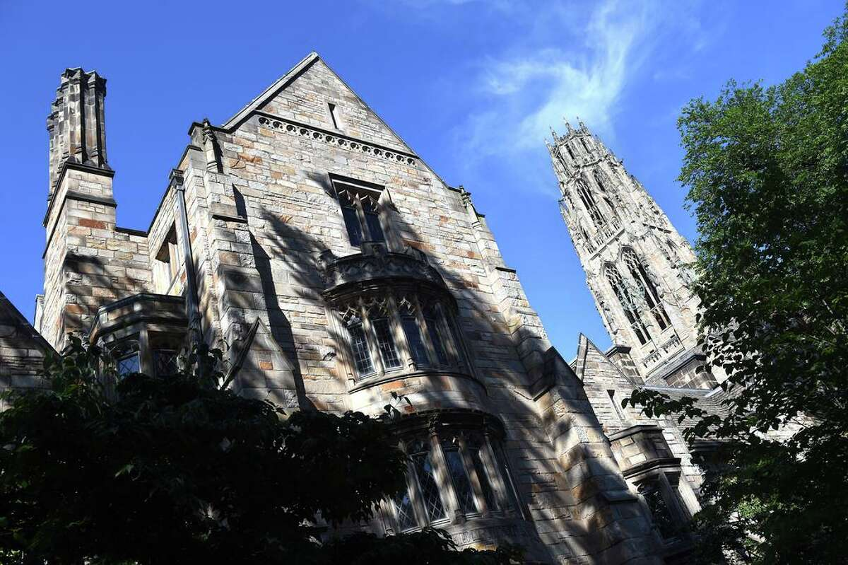 Yale University's Branford College (left) and Harkness Tower in New Haven photographed on June 22, 2020