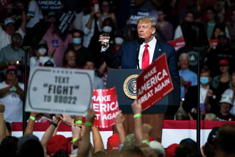 President Donald Trump speaks during a campaign rally at the BOK Center in Tulsa, Okla., on Saturday, June 20, 2020. Photo: Washington Post Photo By Jabin Botsford / The Washington Post
