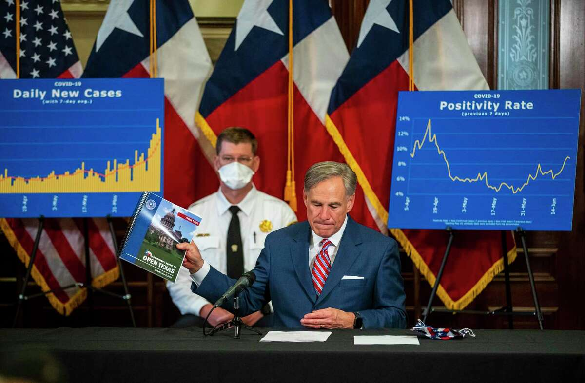 """Gov. Greg Abbott says COVID-19 """"must be corralled"""" at a news conference Monday at the State Capitol. Hospitalizations have more than doubled in recent weeks."""