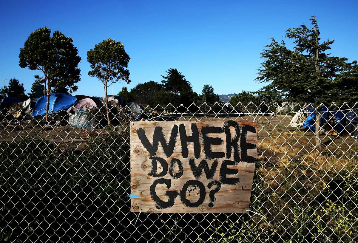 The question is posed at a Berkeley homeless encampment in May.