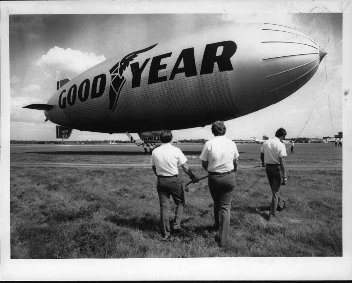 Goodyear Blimp in Albany. June 23, 1985 (Hai Do/Times Union Archive)
