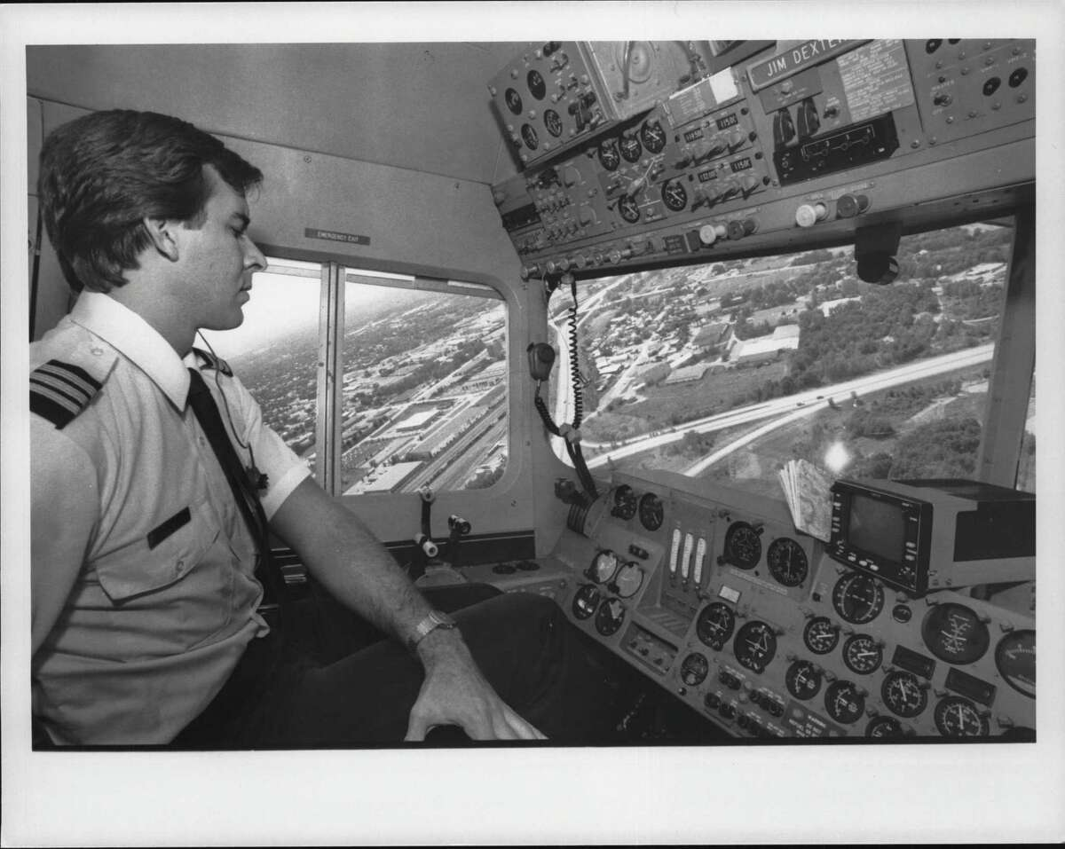 Goodyear Blimp pilot Jim Dexter. June, 1985 in the Albany area. (Times Union Archive)