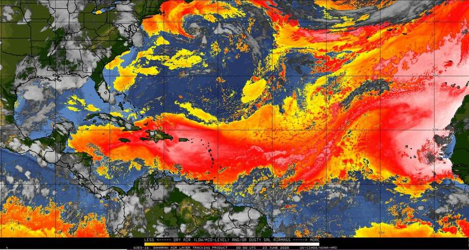 The NOAA's GOES satellite shows Saharan dust, the red-to-pink areas, moving closer to the Gulf of Mexico. Photo: Photo: NOAA