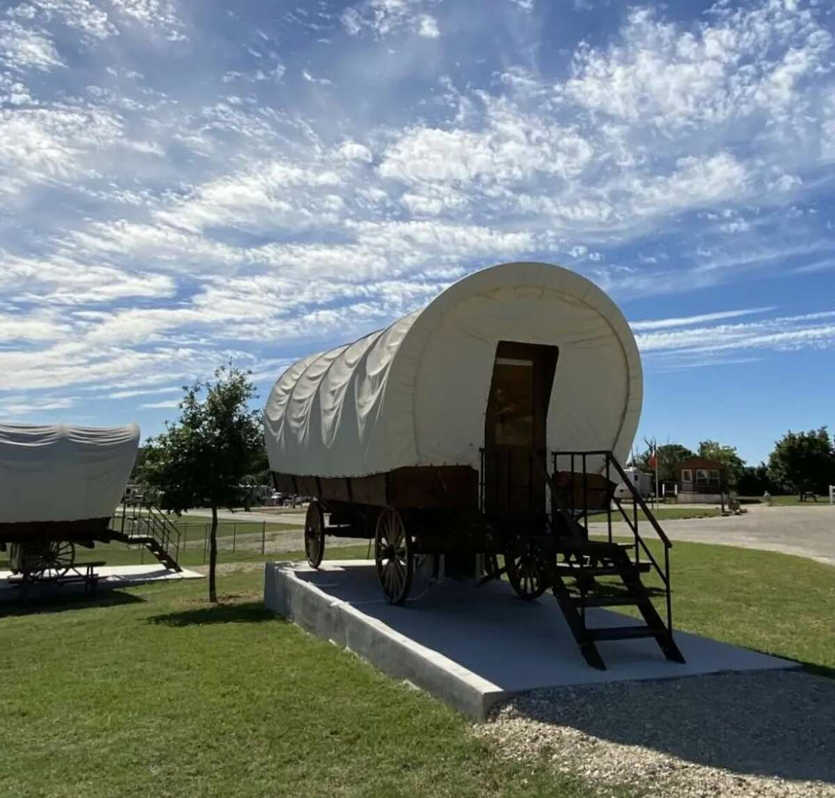 For $125 per night, you can rent one of the five Conestoga covered wagons on the campground near Fredericksburg. If you're a history buff, this is an ideal spot. Conestoga wagons were used extensively in the eighteenth and nineteenth century to carry farm products such as corn, barley and wheat, according to historians. The peak years of use were from 1820 to 1840.