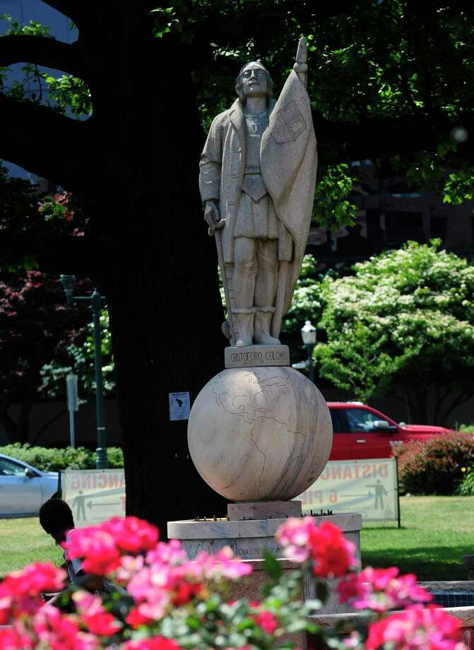 The City of Stamford has received numerous requests calling for the removal of the Christopher Columbus statue in Columbus Park. Photo: Matthew Brown / Hearst Connecticut Media / Stamford Advocate