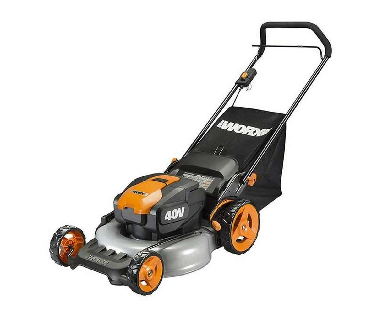 Worx WG751: $361.19 Shop Now Volts: 40Weight: 50.2 lb. with two 4Ah batteriesCut area per charge: 4,830 sq. ft. We see the Worx as a mid-duty mower well suited to flat and smooth suburban yards. With the bag, and its two batteries, it weighs just a hair over 50 pounds. We found that its light weight makes it easy to push uphill or sidehill, even with a full grass bag. That light weight makes it even easier to adjust its deck with the single-lever height adjustment. A hatch on the side of the deck permits you to easily swap among its three functions: mulching, bagging, or side discharge. Some of those weight savings occur with a plastic nose and torsion box (a web-like assembly of plastic fins). While that makes us concerned about the mower's durability, nothing broke or came loose during our test. The mower has robust features where needed, such as two rigid bar steel axles at the front and rear. The Worx's light weight and its ability to mow in three functions also gives it good potential to act as a 20-inch trimmer, especially if you have intricate landscape features. You can then mow the lawn's broad areas with larger equipment.