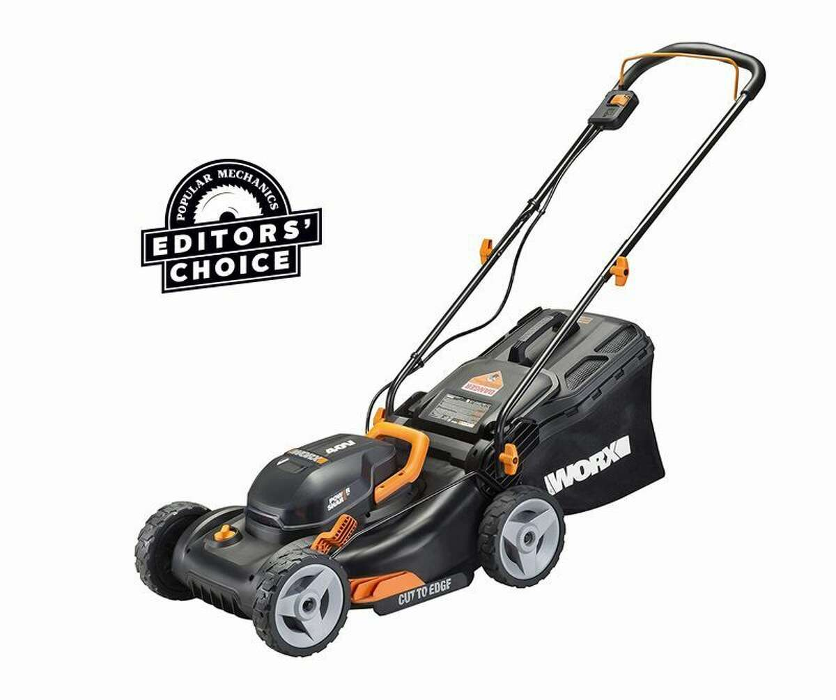 Worx WG743 4: Shop Now Voltage: 40Weight: 35 lb. with one 4Ah batteryCut area per charge: Estimated 4,500 to 6,000 sq. ft. We were very pleasantly surprised at the Worx's work ethic. With a cutting diameter of just 16 inches, and weighing about 35 pounds, it's very nimble. You're grateful for its lack of weight when you push it uphill or make long, plodding sidehill cuts, a regular feature of our mower tests. Another check mark in the plus column is that you can operate the Worx at reduced motor rpm to deal with shorter or thinner grass. To operate the mower at reduced rpm, twist the knob on the front of the mower's deck to the Eco setting. When the grass gets thick or tall, stop, reach down and turn the dial to Turbo. As for bagging, a small flap on the back of the 1.2-bushel grass bag alerts you when the bag is full. Airflow through the mesh bag keeps the flap closed, but as clippings build up and block airflow, some of the air is diverted out the back of the bag and lifts the flap. Other attributes of the Worx that we like are its single-lever deck-height adjustment, a mid-fold handle that reduces storage space, and one of the better handles we've seen on a grass bag, especially at this price level. Demerits? You have to turn the grass bag sideways to lift it up and out through the handle. Likewise, we prefer a rear-located deck lift lever. Neither of these is a deal breaker, though. Read Full Review