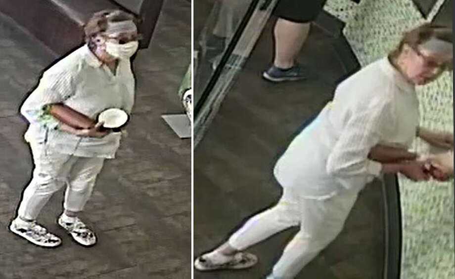 The San Jose Police Dept. is asking for help ID'ing an adult female upset a female with a child behind her was not maintaining proper social distancing, The suspect removed her face mask, got close to the baby's face, and coughed 2-3 times before leaving the scene. Photo: SJPD