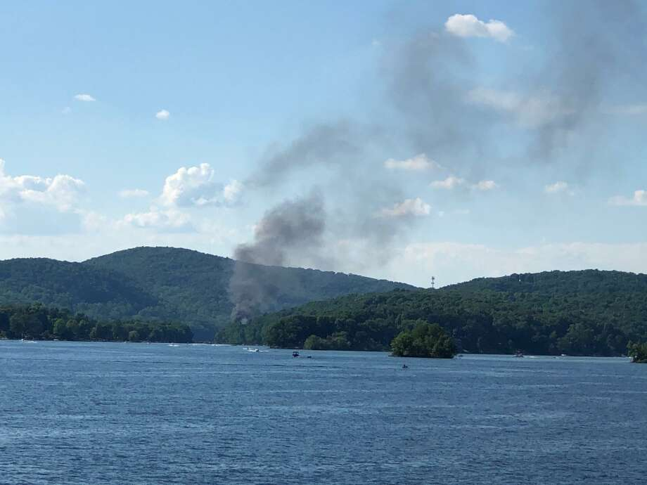 Smoke from the fiery crash seen from the Brookfield side of Candlewood Lake. Photo: Helen Sheridan / Contributed Photo
