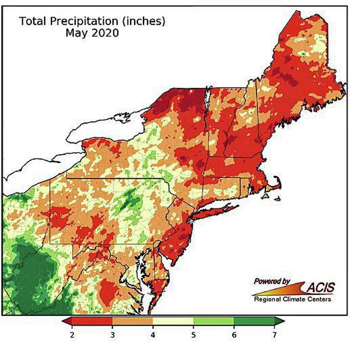 According to the Northeast Regional Climate Center, some parts of Connecticut have received less than a half-inch of rain this month. May's average rainfall in the state is 3.52 inches. Parts of the state are more than 7 inches below the normal year-to-date rainfall.