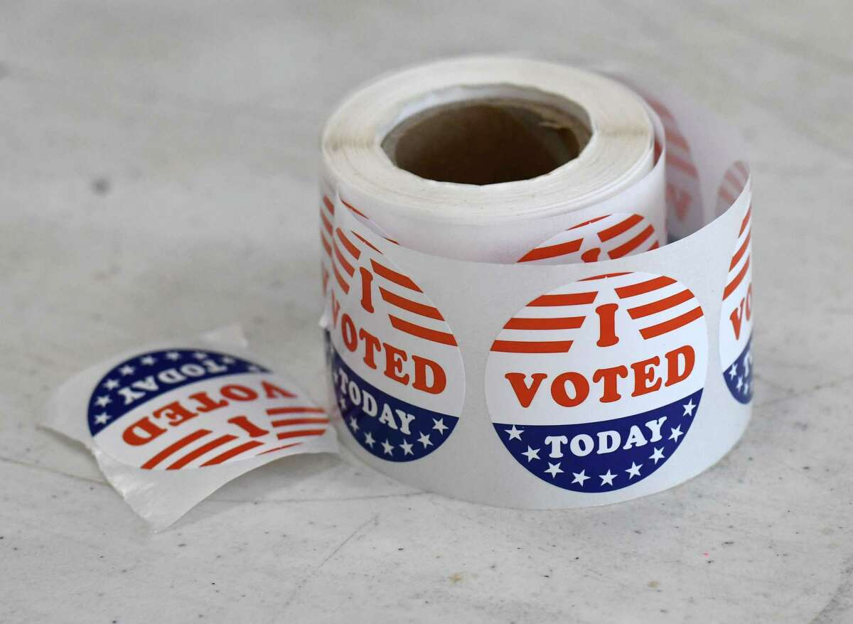I voted stickers are seen at the Mt. Moriah Christian Academy polling station for Tuesday's state primary election on Tuesday, June 23, 2020, in Glenmont, N.Y. (Will Waldron/Times Union)