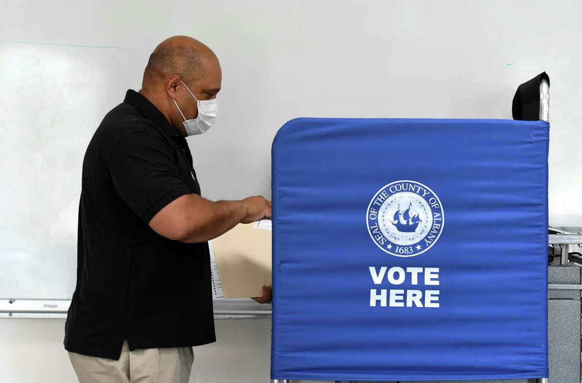 Albany County District Attorney David Soares casts his ballot in Tuesday's state primary election at the Mt. Moriah Christian Academy polling station on Tuesday, June 23, 2020, in Glenmont, N.Y. DA Soares is being challenged for the Democratic nomination by Matt Toporowski. (Will Waldron/Times Union)