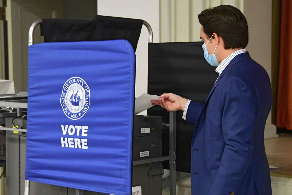 Matt Toporowski casts his ballot in Democratic Primary for Albany County District Attorney at The First Church on Tuesday, June 23, 2020 in Albany, N.Y. Matt is running against current DA David Soares. (Lori Van Buren/Times Union)