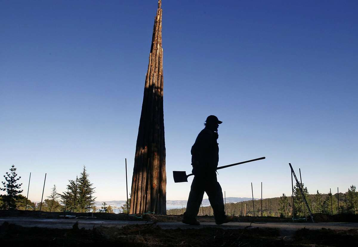 Presidio Trust employee Terry Langan from San Francisco works on the restoration of the Bay Ridge trail in front of the spire, an environmental piece of artwork by Andy Goldsworthy Wednesday Dec 17, 2008.