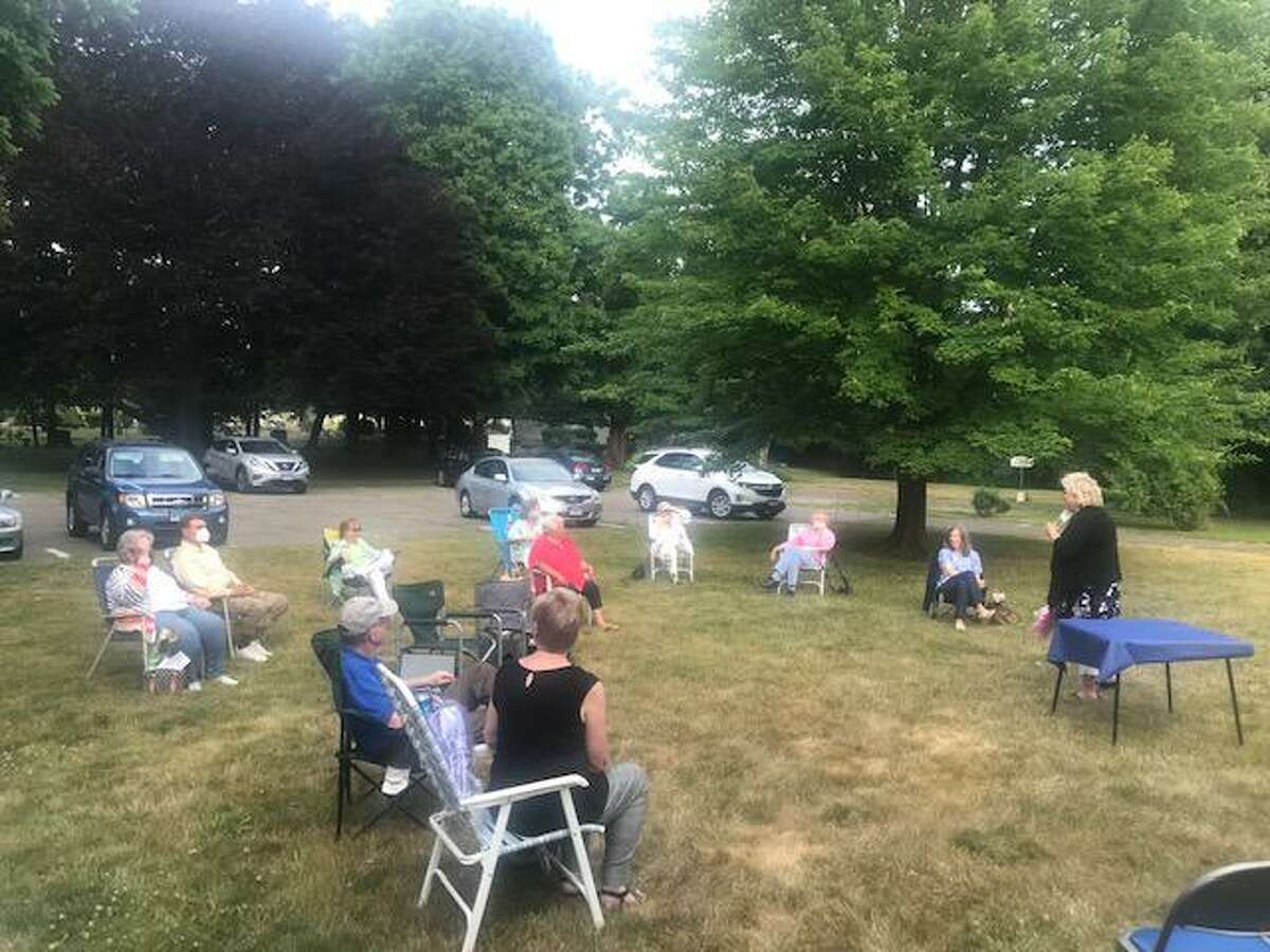Freelove Baldwin Stow DAR Chapter meeting held June 18, following COVID-19 social distancing and mask guidelines.