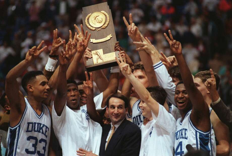 The Duke Blue Devils celebrate their NCAA championship win over Michigan on April 1, 1992. Photo: Getty Images