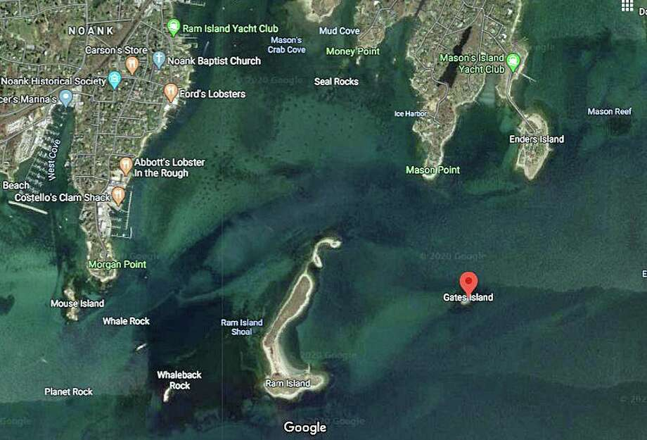 Gates Island is located on the eastern end of Long Island Sound off Stonington. Photo: Google Image