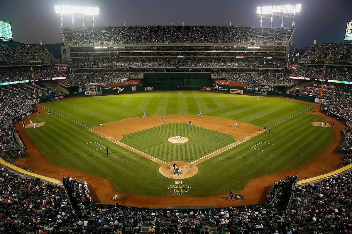 The Oakland Athletics play host to the San Francisco Giants at Ring Central Coliseum on August 24, 2019, in Oakland, California. (Lachlan Cunningham/Getty Images/TNS)