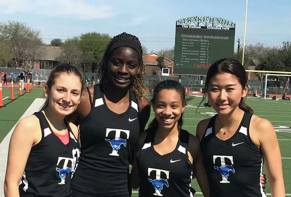 Katy Taylor graduate Martina Caridad, pictured with distance medley relay teammatesDeborah Imeh, Chelsea Tanner and Grace Kim at the Strake Jesuit Crusader Relays, is part of the University of St. Thomas' incoming signing class for the 2020 cross country season.