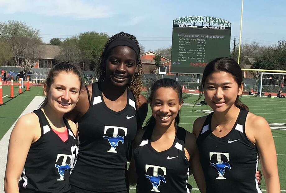 Katy Taylor graduate Martina Caridad, pictured with distance medley relay teammatesDeborah Imeh, Chelsea Tanner and Grace Kim at the Strake Jesuit Crusader Relays, is part of the University of St. Thomas' incoming signing class for the 2020 cross country season. Photo: Taylor High School