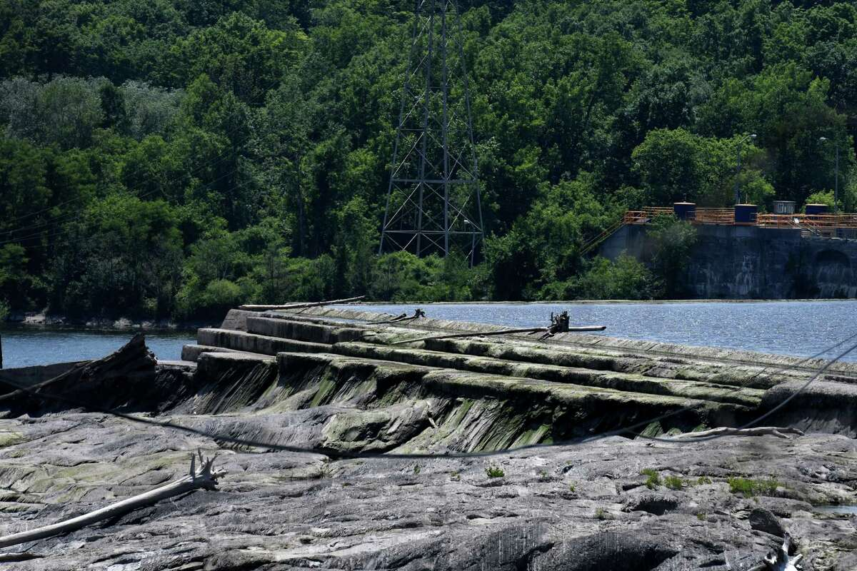 Water levels on the Mohawk River are lower than usual at Lock 7 during a delayed Erie Canal System opening on Tuesday, June 23, 2020, in Clifton Park, N.Y. (Will Waldron/Times Union)
