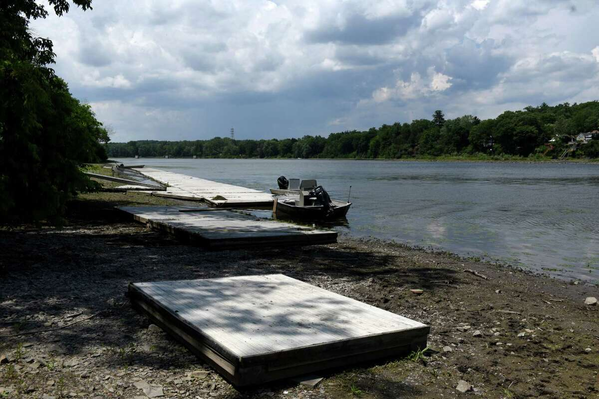 Water levels on the Mohawk River are lower than usual at the rowing club docks near Rexford Bridge during a delayed Erie Canal System opening on Tuesday, June 23, 2020, in Niskayuna, N.Y. (Will Waldron/Times Union)