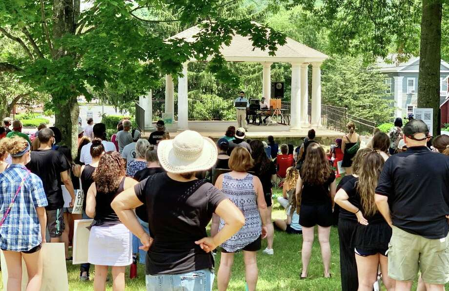 More than 300 individuals converged on the Higganum Green June 20 in support of the Black Lives Matter movement and to protest against racism and bigotry. Photo: Contributed Photo