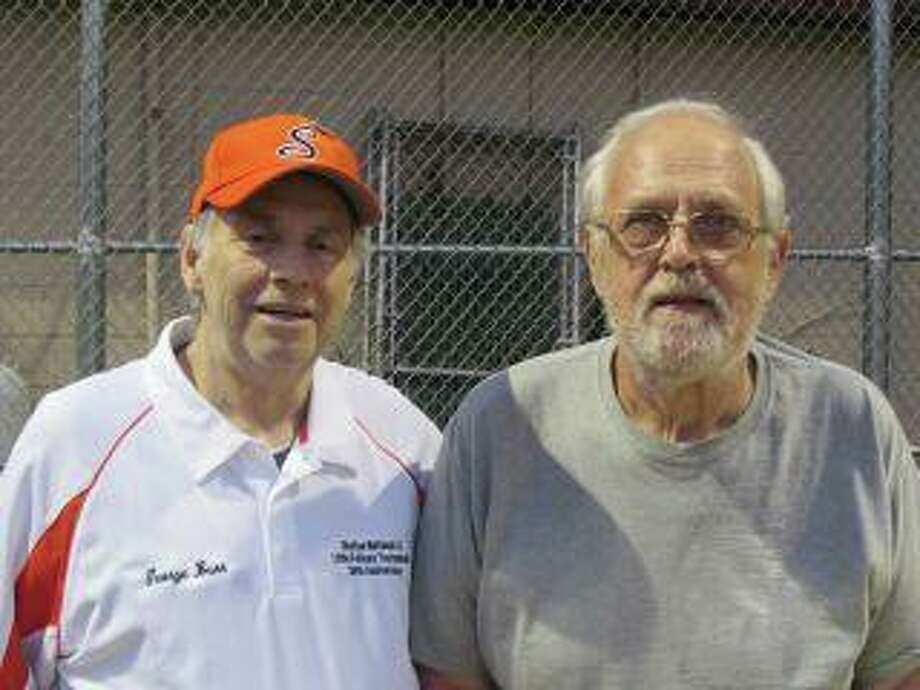 Shelton National Little League long-time board member George Burr, left, and President Stan Kudej have helped make the Littlefellows Tournament happen for 36 years. Photo: Contributed Photo / Shelton National Little League / Shelton Herald