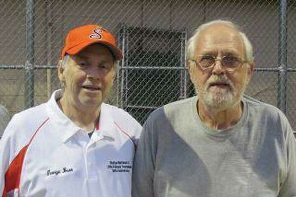 Shelton National Little League long-time board member George Burr, left, and President Stan Kudej have helped make the Littlefellows Tournament happen for 36 years.