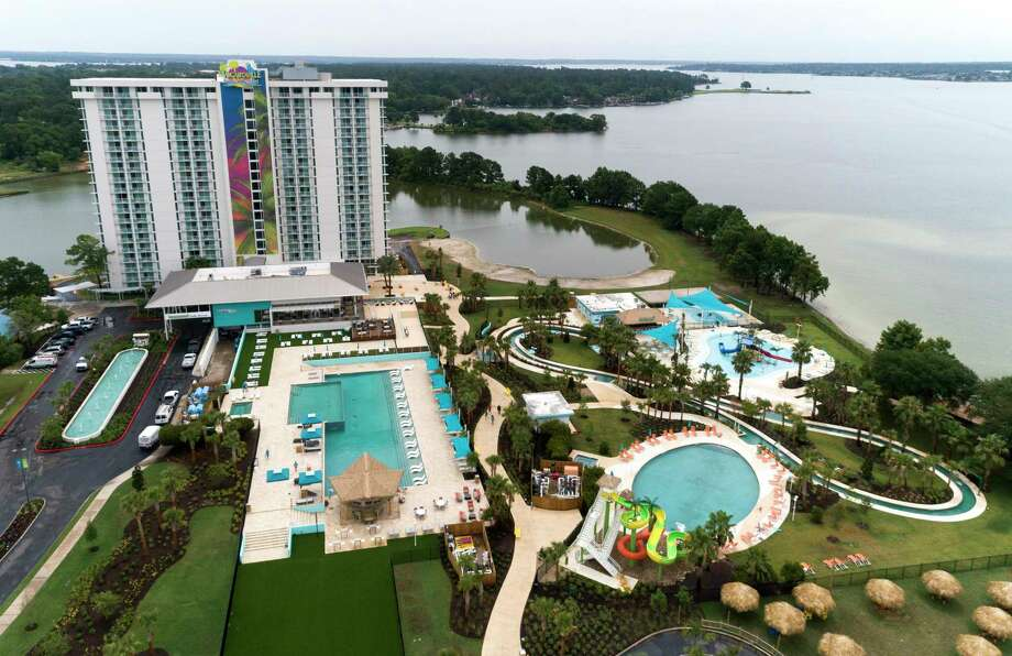 The first Margaritaville Resort in Texas is set to open June 26 in Montgomery. The highly anticipated 186-acre resort features a splash of dining concepts and recreational activities, including a water park, an 18-hole golf course, a '5 O'Clock Somewhere' swim-up pool bar and boat rentals. In addition to a 72,000 square foot conference and event space, there are 303 suites in the 20-story luxury tower and another 32 lake cottages on the property. Photo: Jason Fochtman, Houston Chronicle / Staff Photographer / 2020 © Houston Chronicle