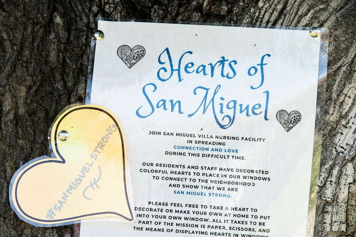 A sign posted at the tree on the sidewalk of the San Miguel Villa nursing home on Tuesday, June 23, 2020, in Concord, Calif.