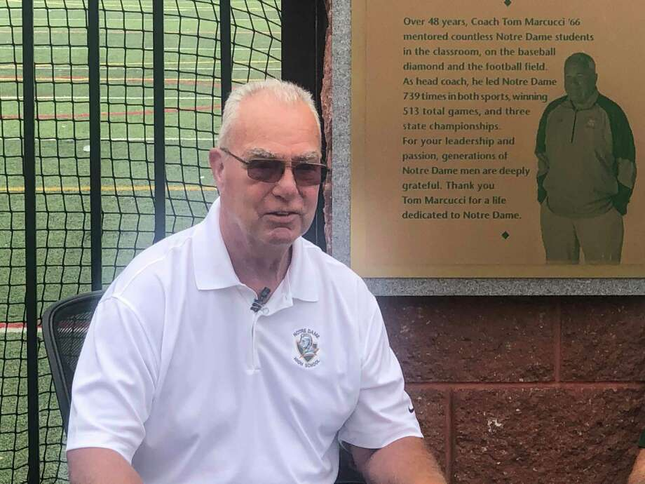 Longtime coach Jim Guercia was inducted into Notre Dame High School's Hall of Fame in October. He passed away earlier this week at the age of 74. Photo: Photo Courtesy Of Notre Dame