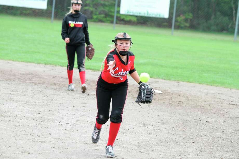 Bear Lake's Kalissa Swanson looks for a force out at first base last season. (News Advocate file photo)