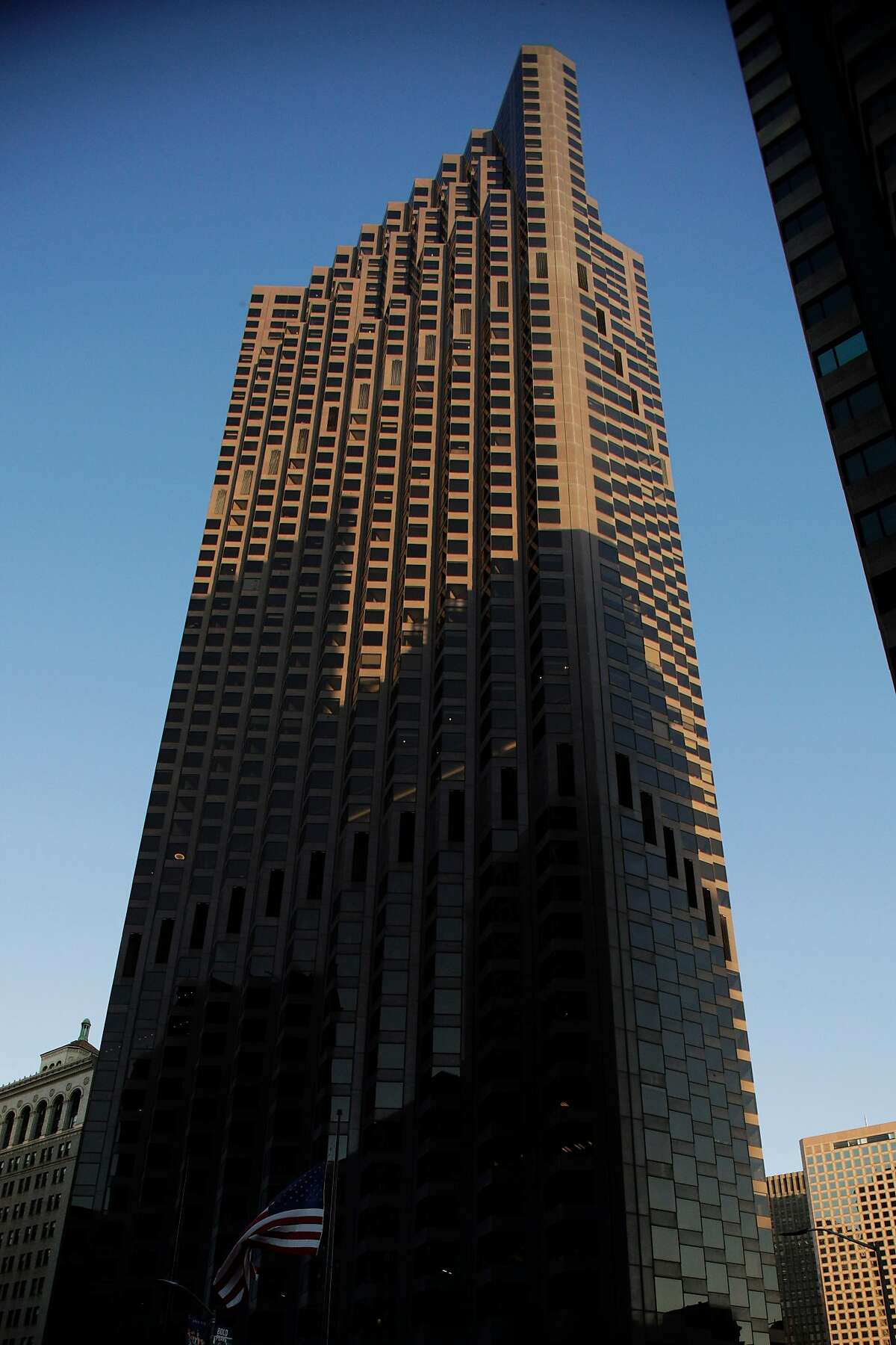 The exterior of 555 California Street in San Francisco, Calif., on Wednesday, May 6, 2020. Co-working giant Regus has walked away from a 15-year lease worth $90 million at 345 Montgomery St., the former bank of America banking hall co-owned by Vornado and the Trump Organization which also owns 555 California Street.