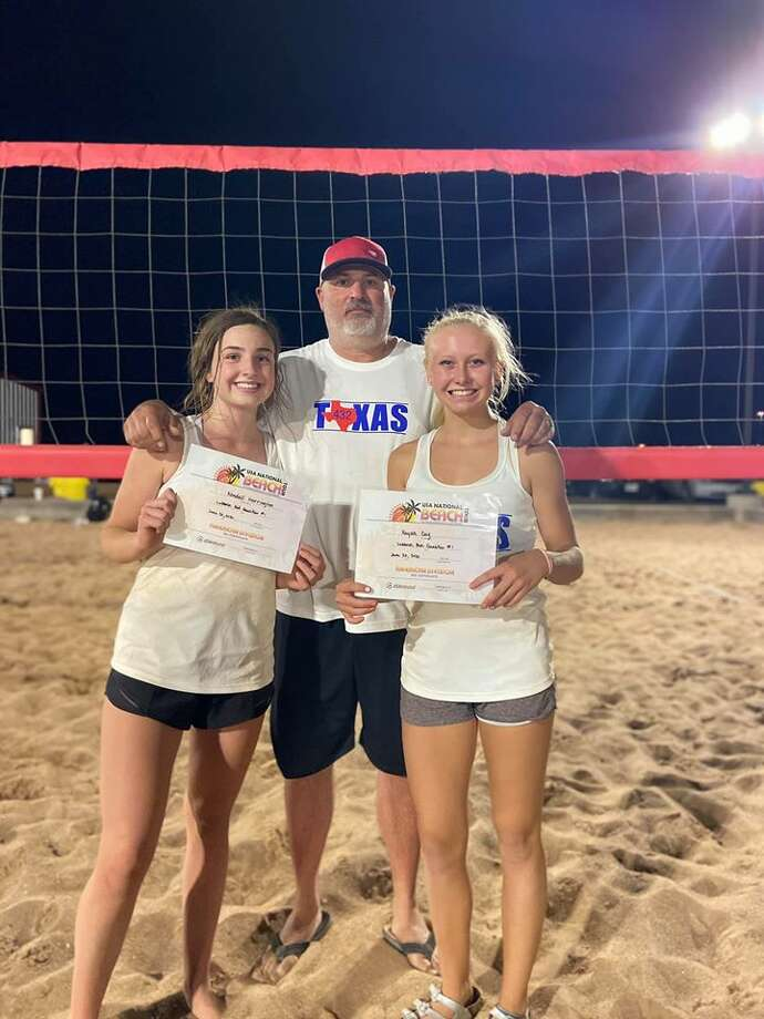 Lee sophomore Kendall Harrington (left) and Midland Christian sophomore Rayah Coy hold up their certificates on June 20 in Lubbock after qualifying for the 2020 USA National Beach Tour Junior Championship. Texas 432 club coach James Barker stands in the background. Photo: Courtesy Photo