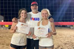 Lee sophomore Kendall Harrington (left) and Midland Christian sophomore Rayah Coy hold up their certificates on June 20 in Lubbock after qualifying for the 2020 USA National Beach Tour Junior Championship. Texas 432 club coach James Barker stands in the background.