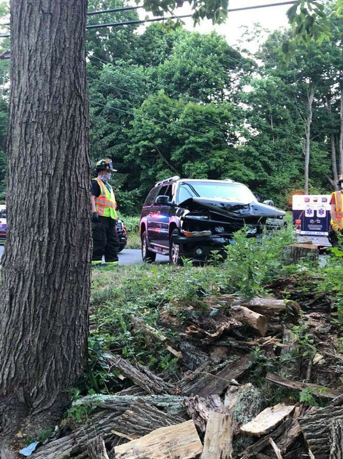 A crash at the intersection of Route 110 and Wheeler Road in Monroe, Conn., on Tuesday, June 23, 2020. Photo: Contributed Photo / Monroe Volunteer Fire Department