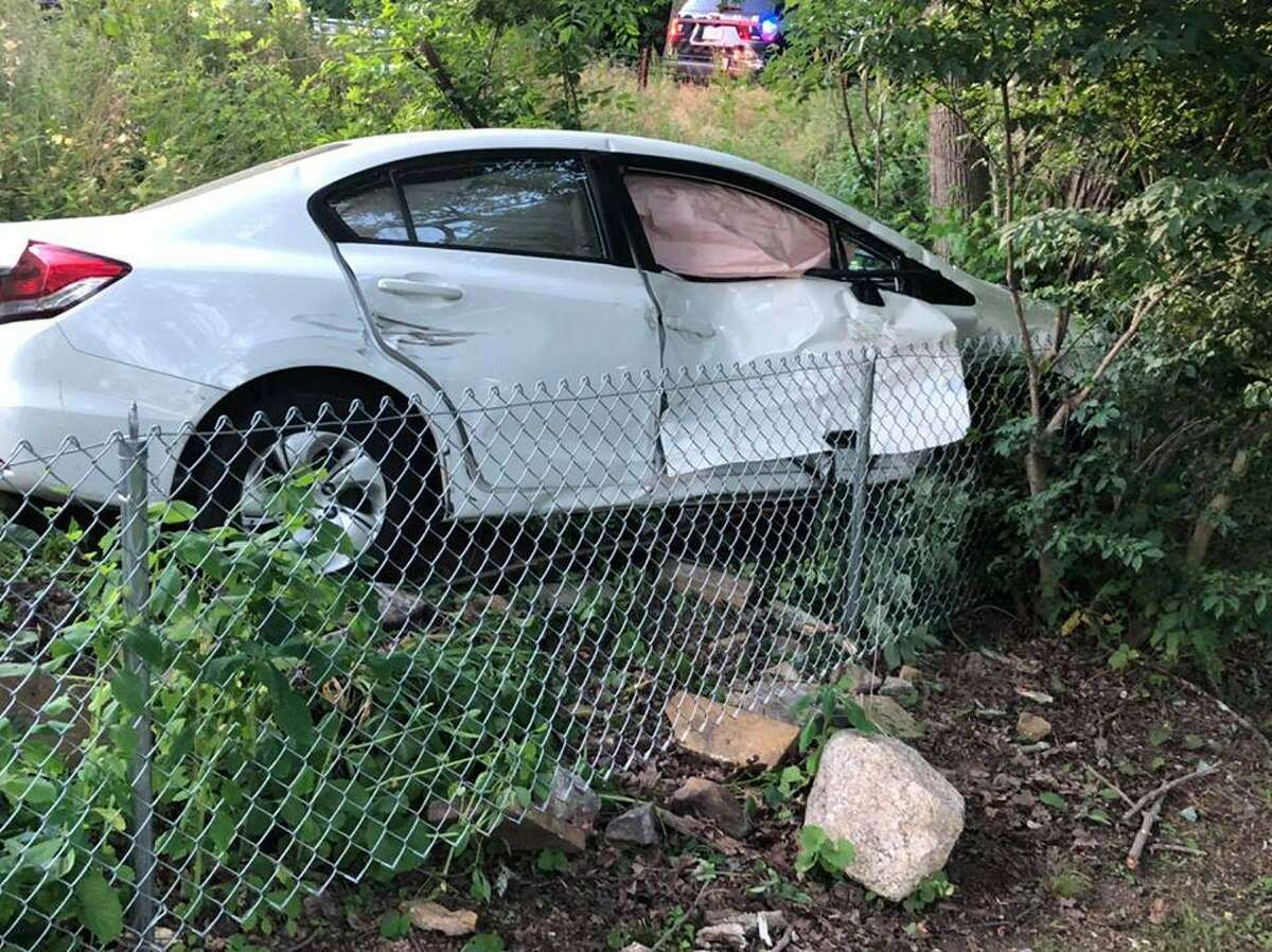 A crash at the intersection of Route 110 and Wheeler Road in Monroe, Conn., on Tuesday, June 23, 2020.