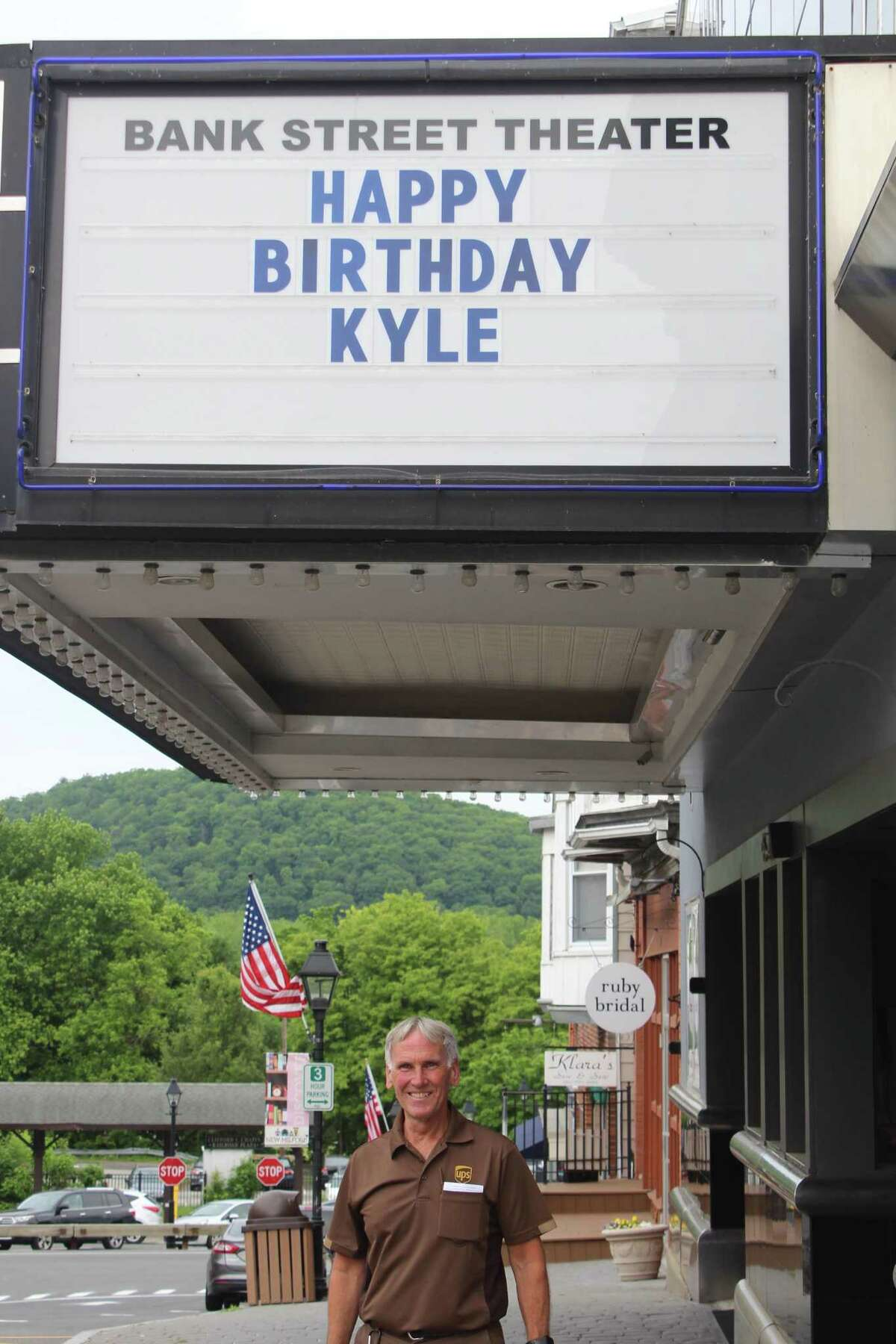 UPS driver Kyle Macomber, who turned 60 June 3, was wished a happy birthday from Bank Street Theater.