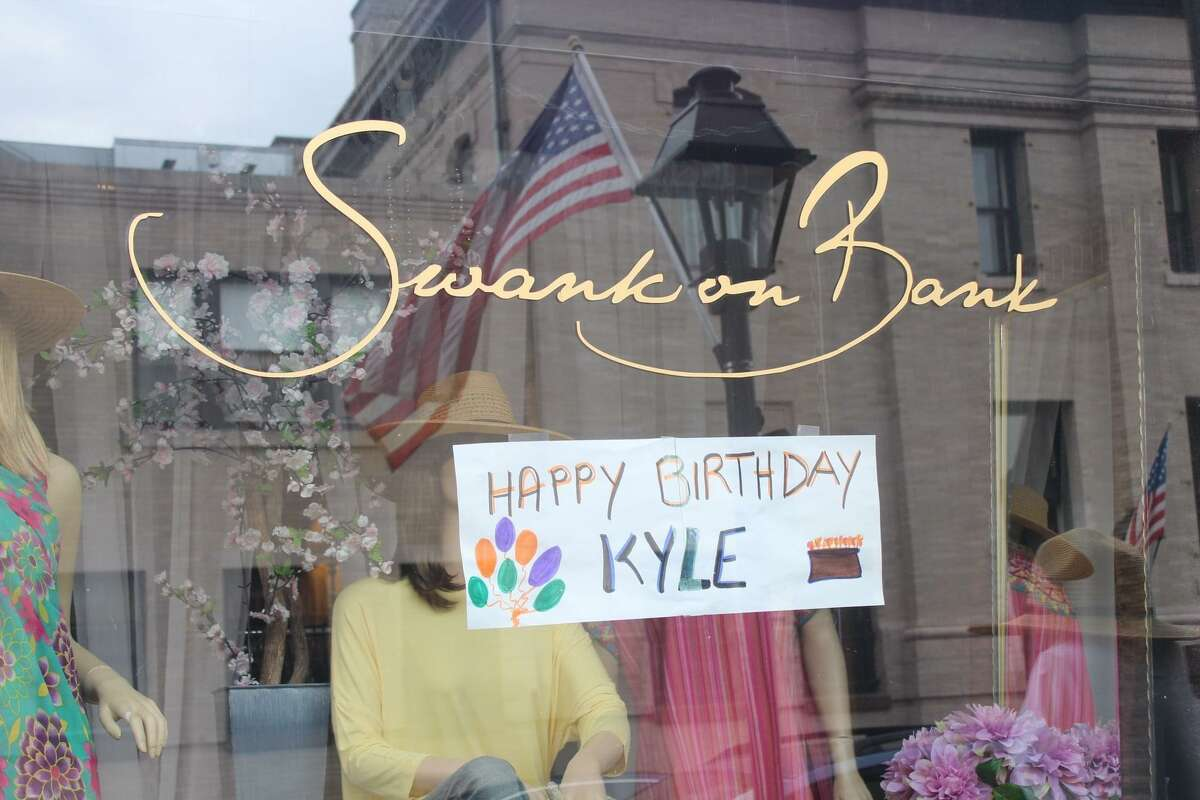 Swank on Bank on Bank Street posted a birthday wish on their store window.